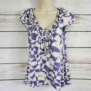 Urban Outfitters | Ruffle Print Short Sleeve Top